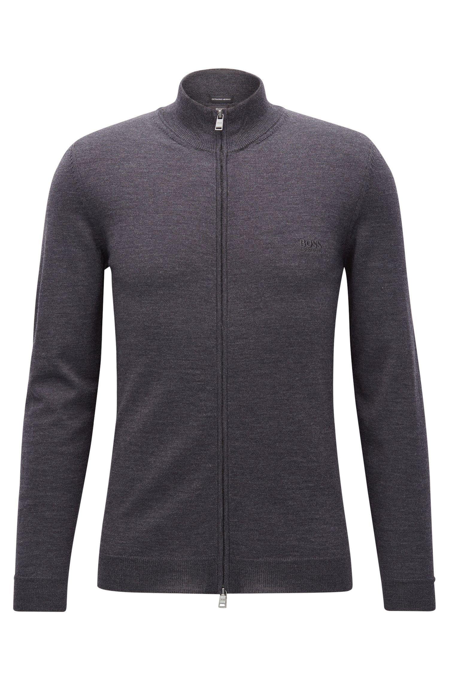 Cardigan con zip integrale in lana vergine