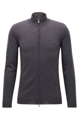 Zip-through cardigan in virgin wool, Dark Grey