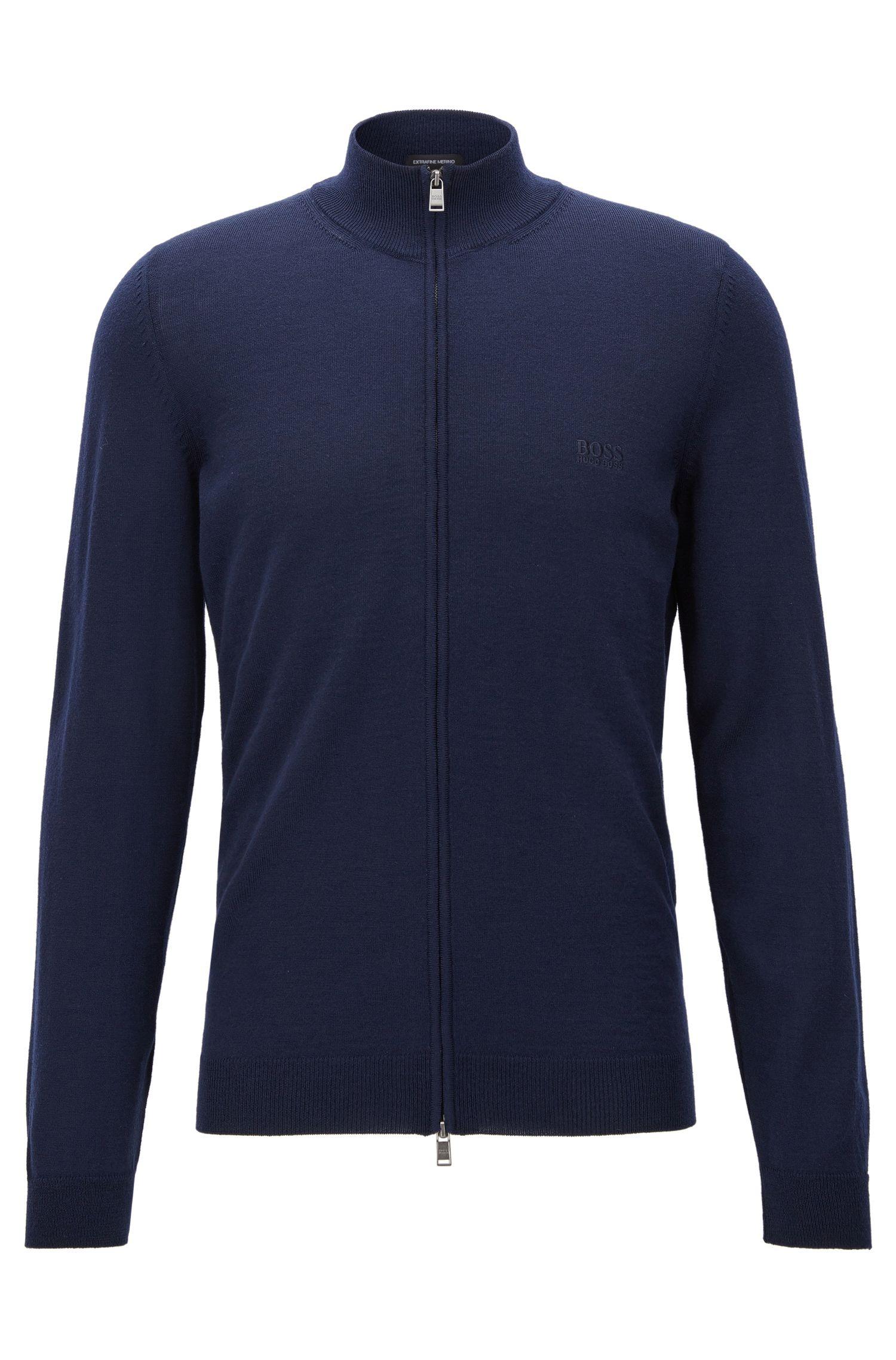 Zip-through cardigan in virgin wool