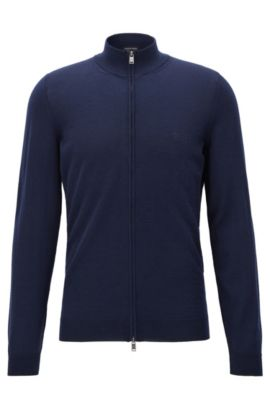 Cardigan con zip integrale in lana vergine, Blu scuro