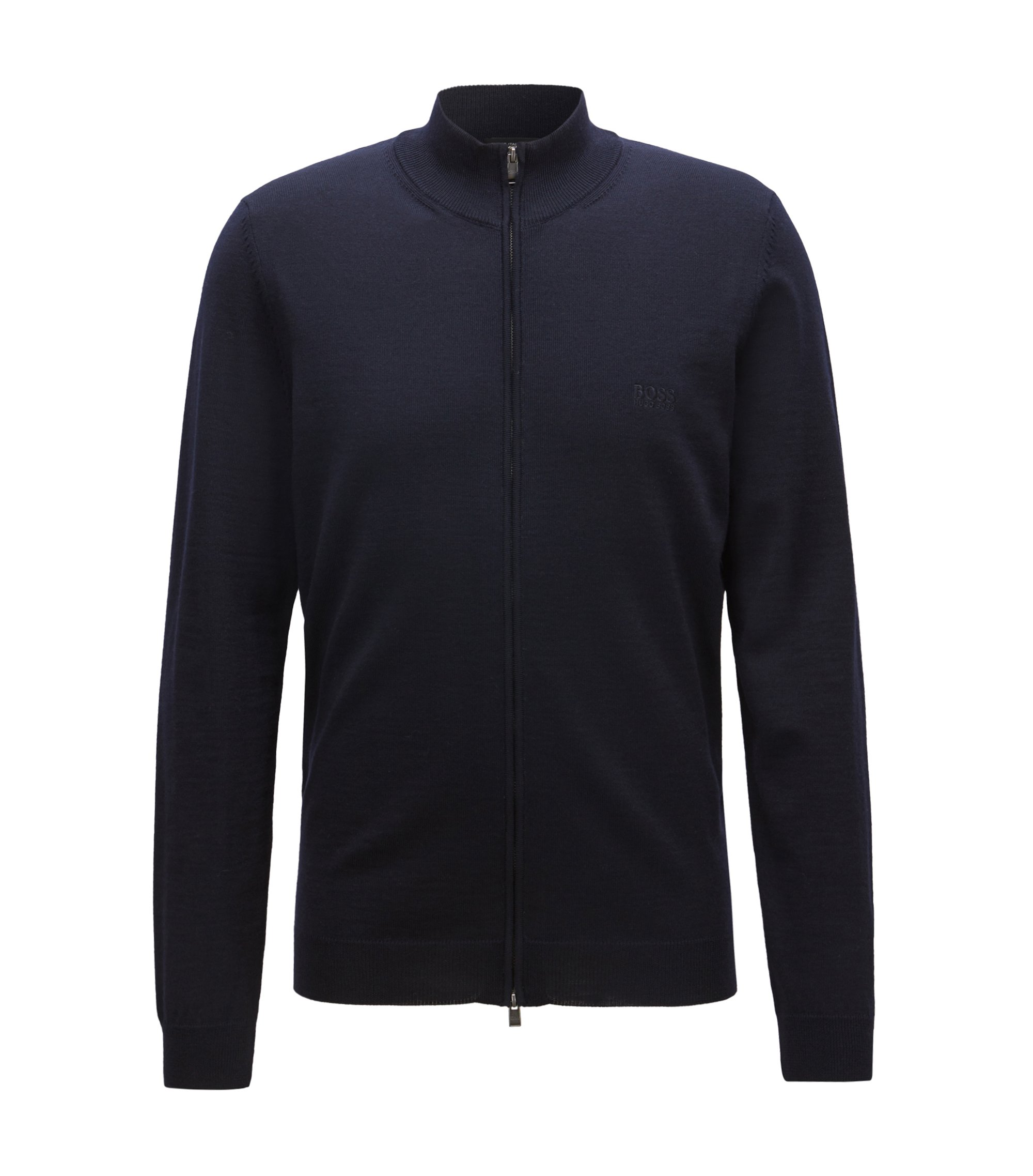 Zip-through cardigan in virgin wool, Blue
