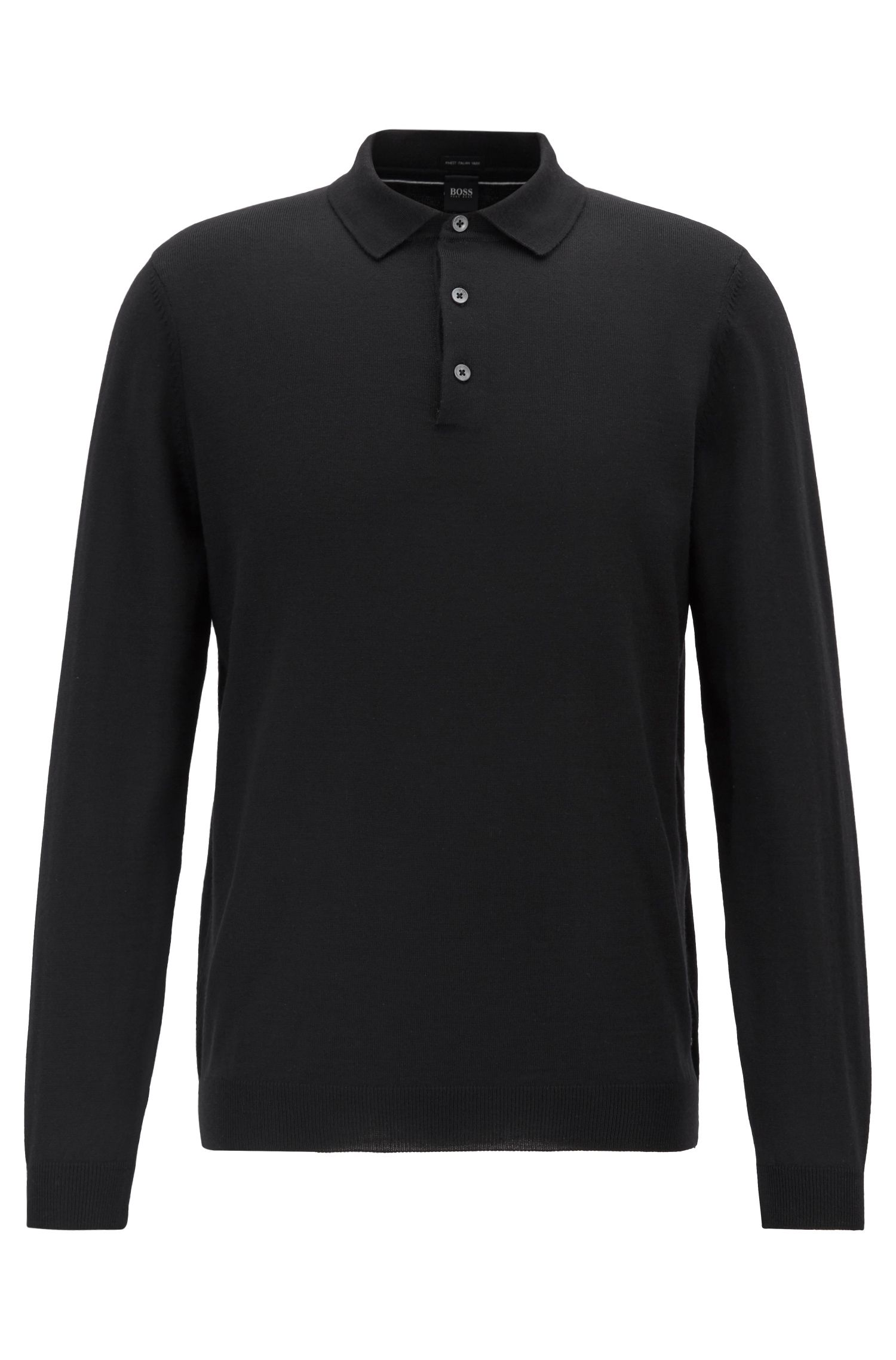 Jersey de manga larga con cuello de polo en lana virgen