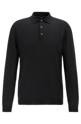 Long-sleeved polo-collar sweater in virgin wool, Black