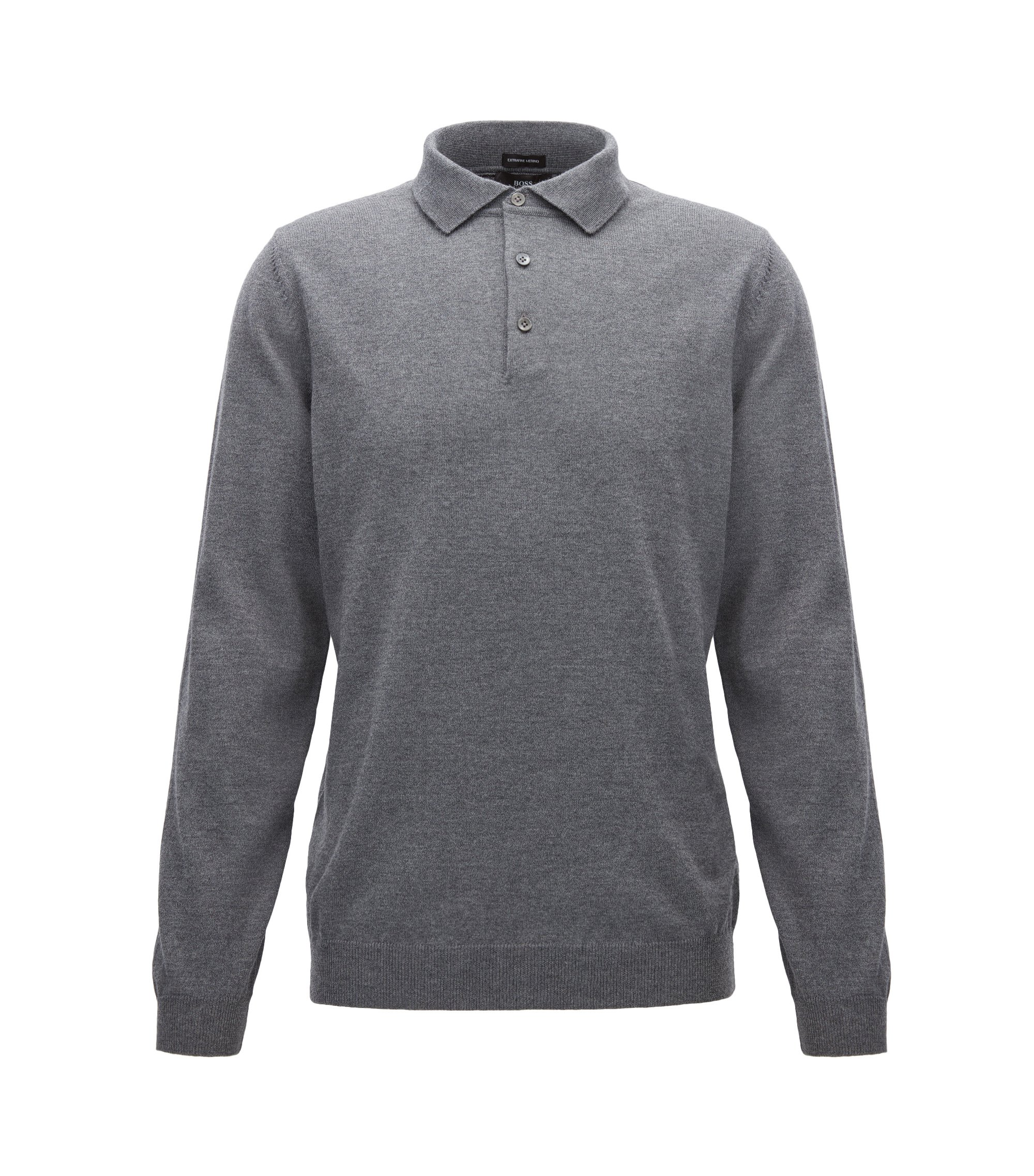Long-sleeved polo-collar sweater in virgin wool, Grey