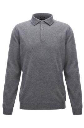 Pullover aus Schurwolle mit Polokragen, Grau