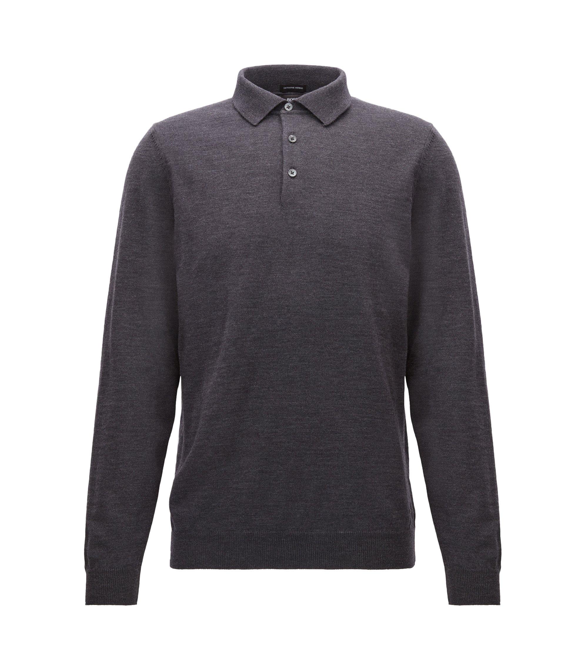 Maglione a maniche lunghe con colletto polo in lana vergine, Grigio scuro