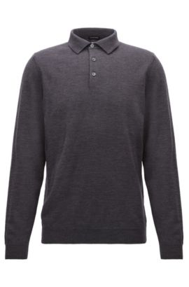 Long-sleeved polo-collar sweater in virgin wool, Dark Grey