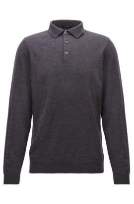 Pullover aus Schurwolle mit Polokragen, Dunkelgrau