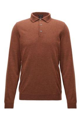 Maglione a maniche lunghe con colletto polo in lana vergine, Marrone