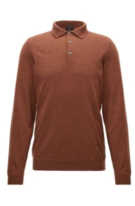 Long-sleeved polo-collar sweater in virgin wool, Brown