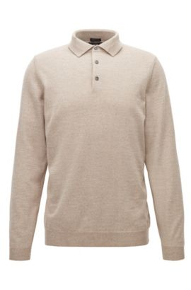 Long-sleeved polo-collar sweater in virgin wool, Beige