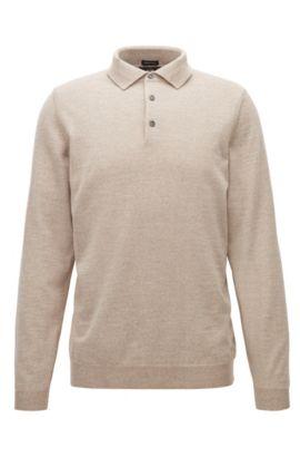 Pullover aus Schurwolle mit Polokragen, Beige