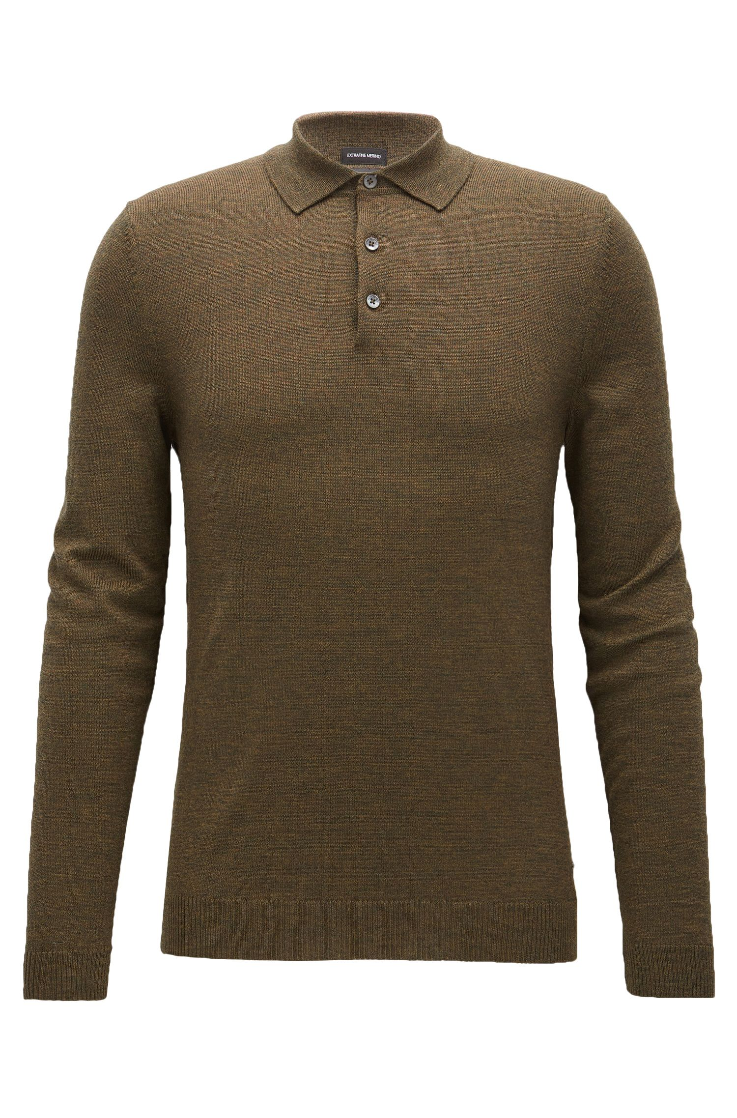 Long-sleeved polo-collar sweater in virgin wool