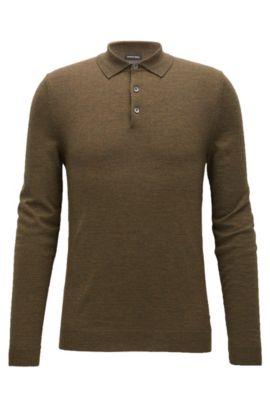 Long-sleeved polo-collar sweater in virgin wool, Dark Green
