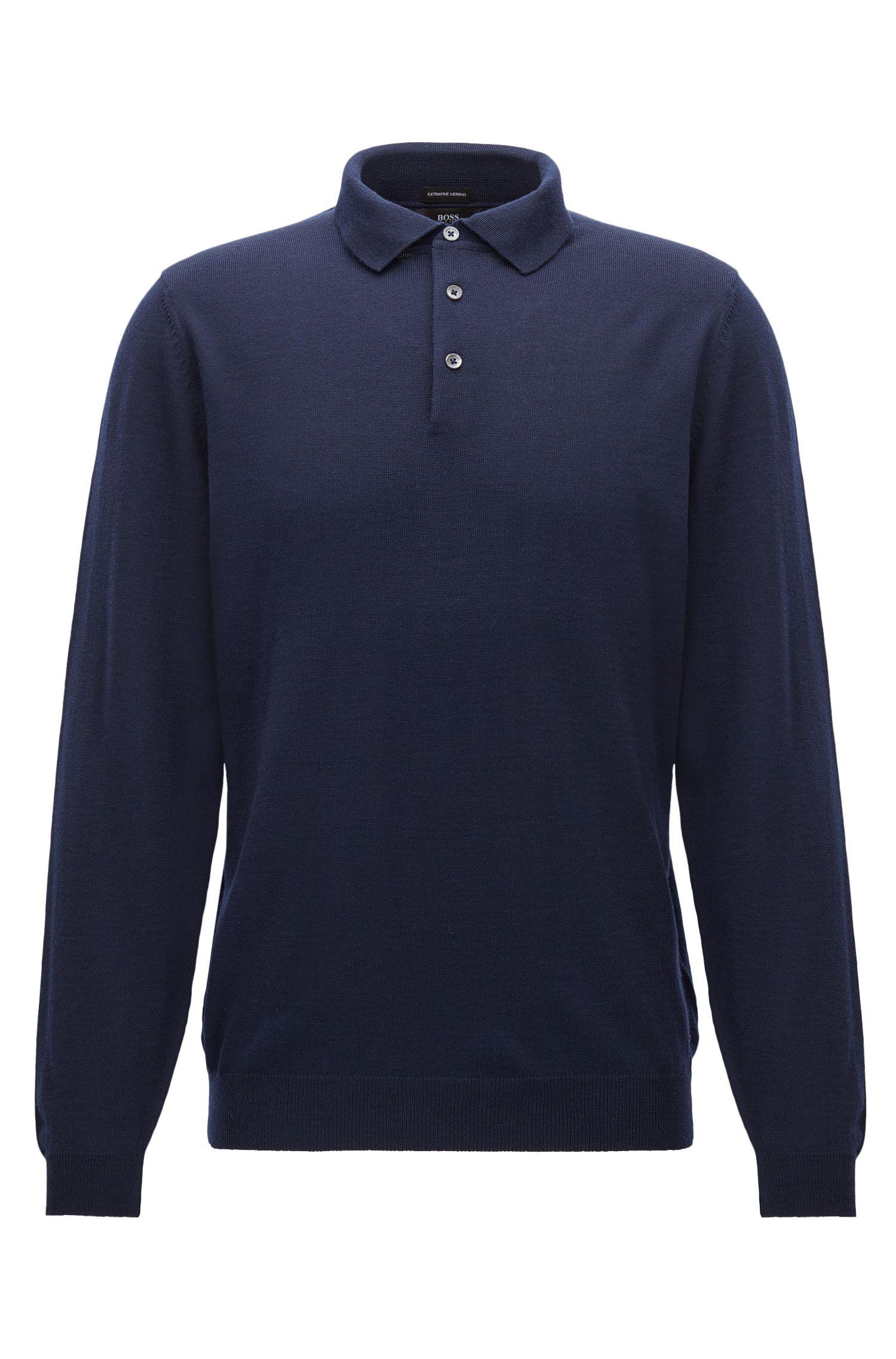 Maglione a maniche lunghe con colletto polo in lana vergine