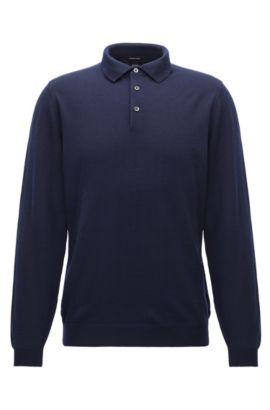 Maglione a maniche lunghe con colletto polo in lana vergine, Blu scuro