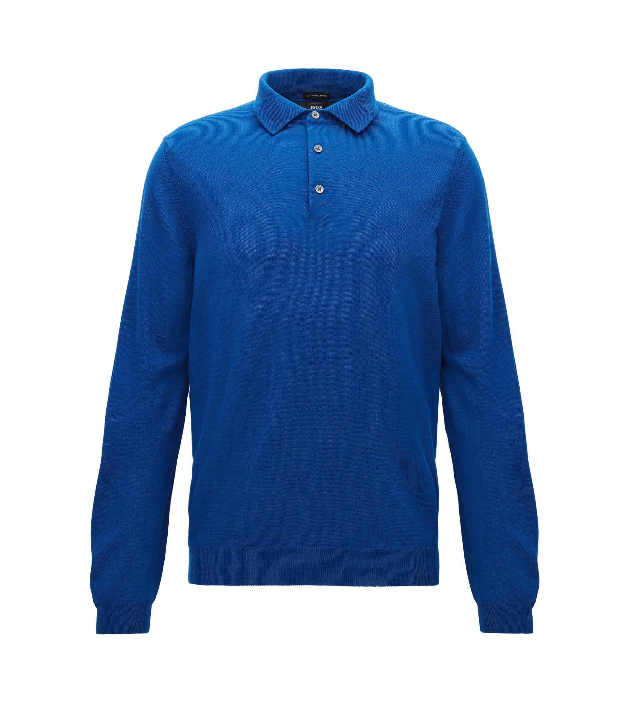 Pull à manches longues et col polo en laine vierge, Bleu