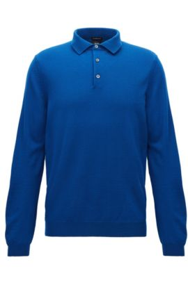 Long-sleeved polo-collar sweater in virgin wool, Blue