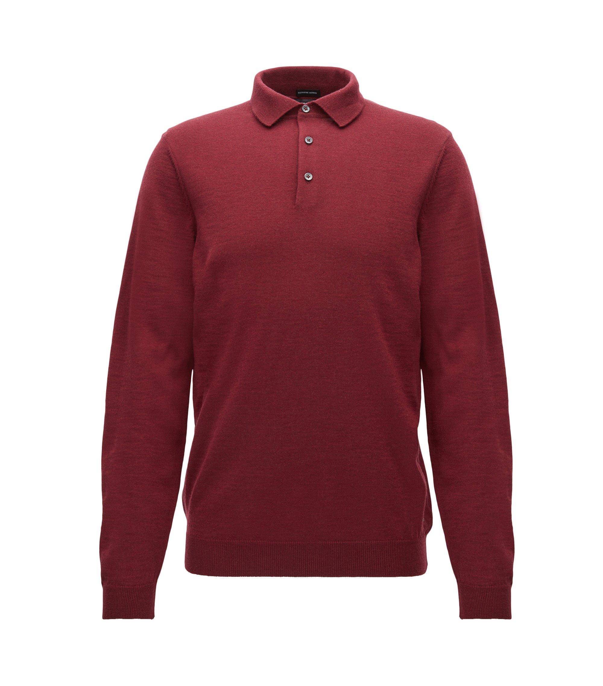 Jersey de manga larga con cuello de polo en lana virgen, Rojo oscuro