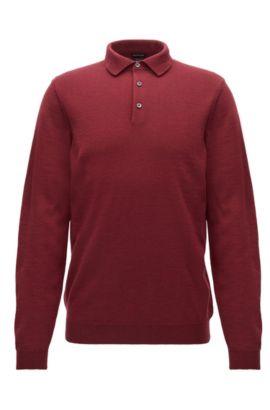 Pullover aus Schurwolle mit Polokragen, Dunkelrot