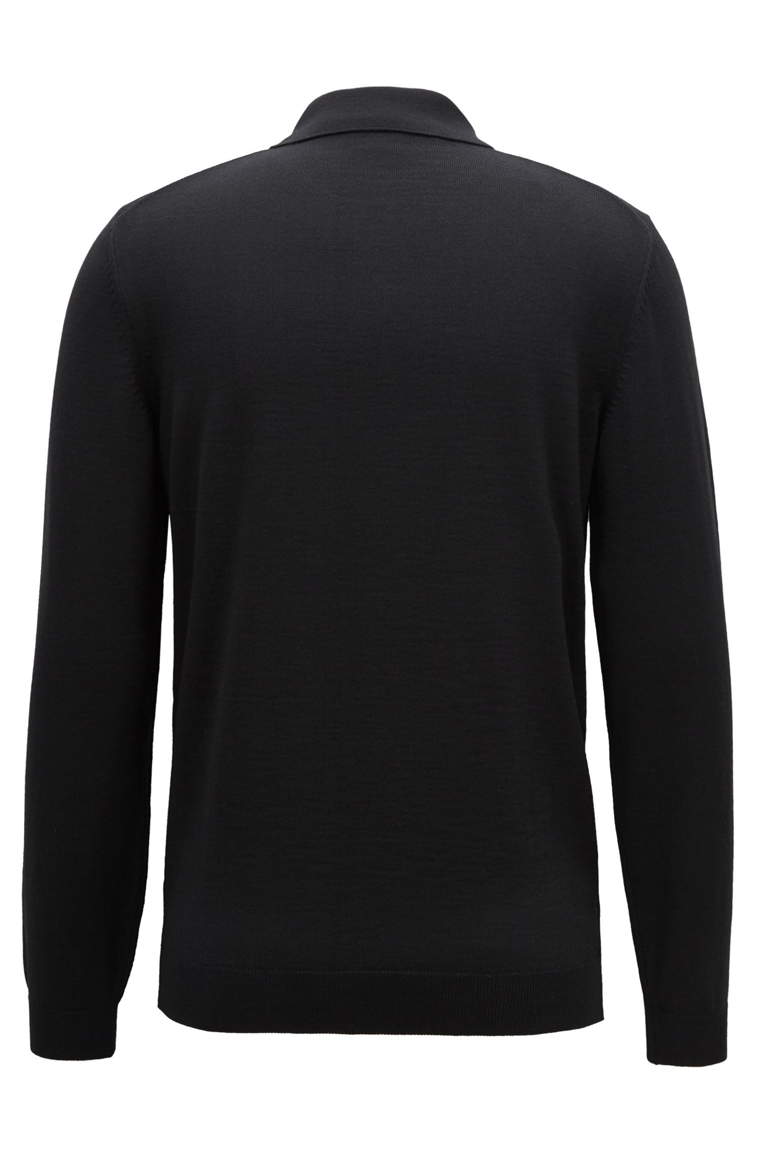 Long-sleeved sweater in virgin wool with polo collar