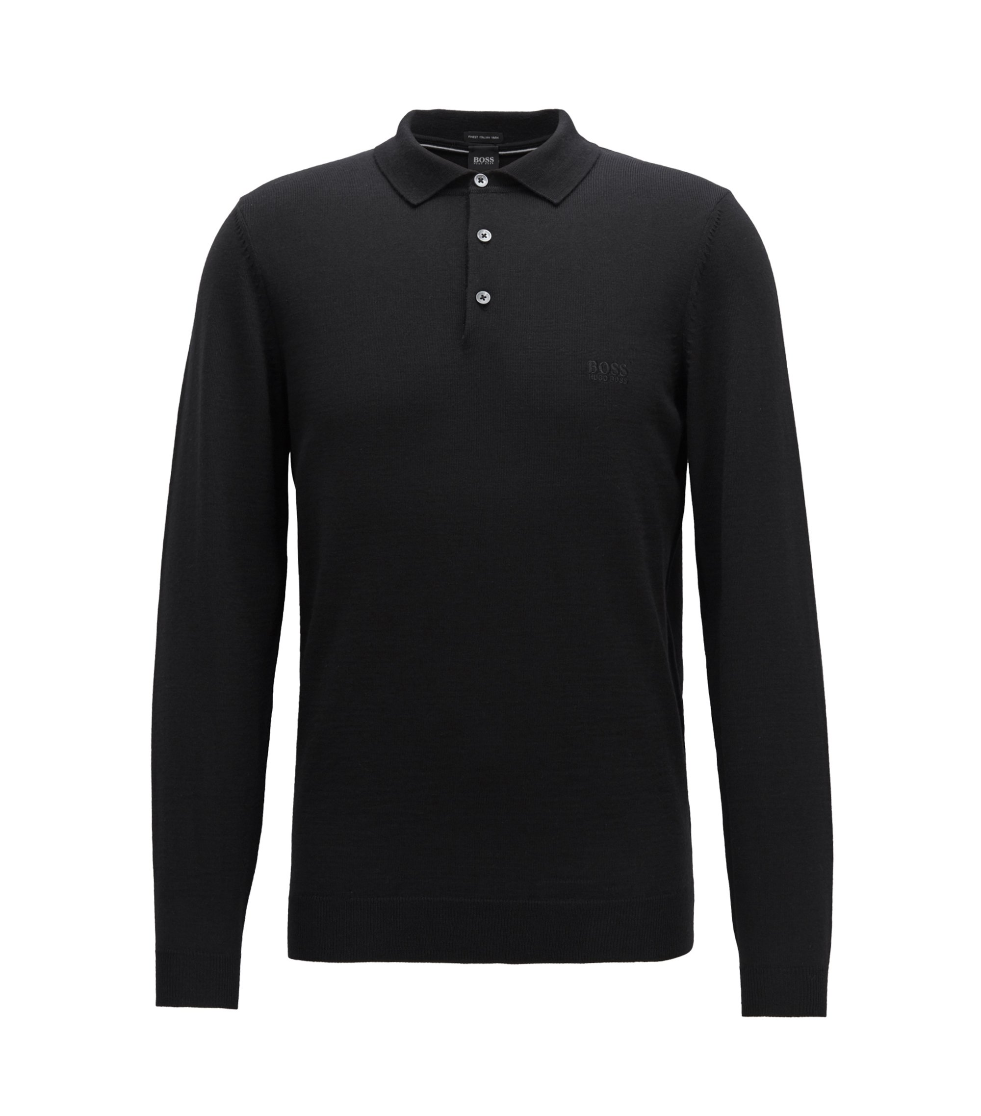 Long-sleeved sweater in virgin wool with polo collar, Black