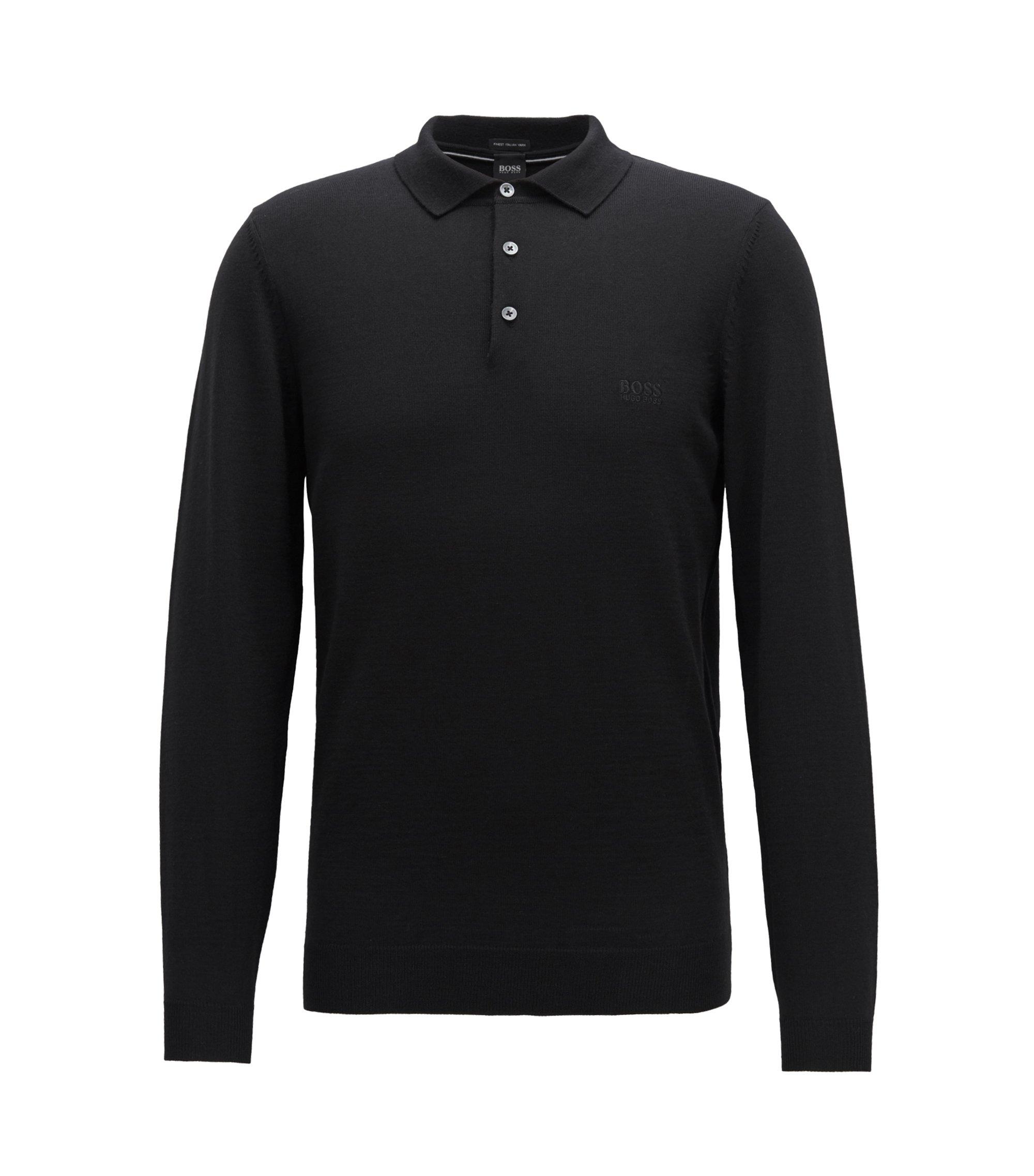 Pullover aus Schurwolle mit Polokragen, Schwarz