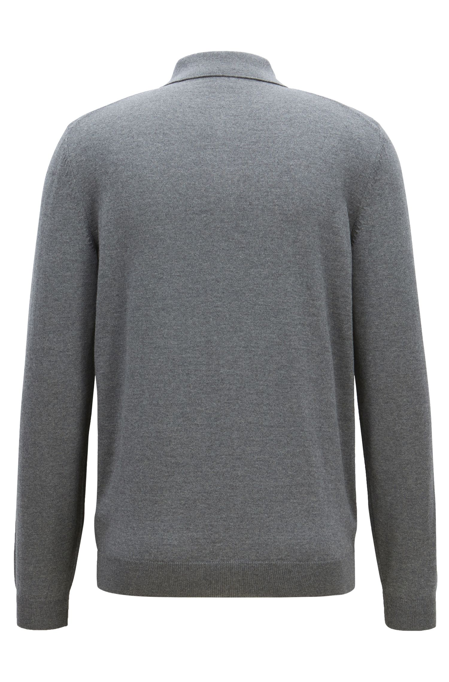 Long-sleeved sweater in virgin wool with polo collar, Grey