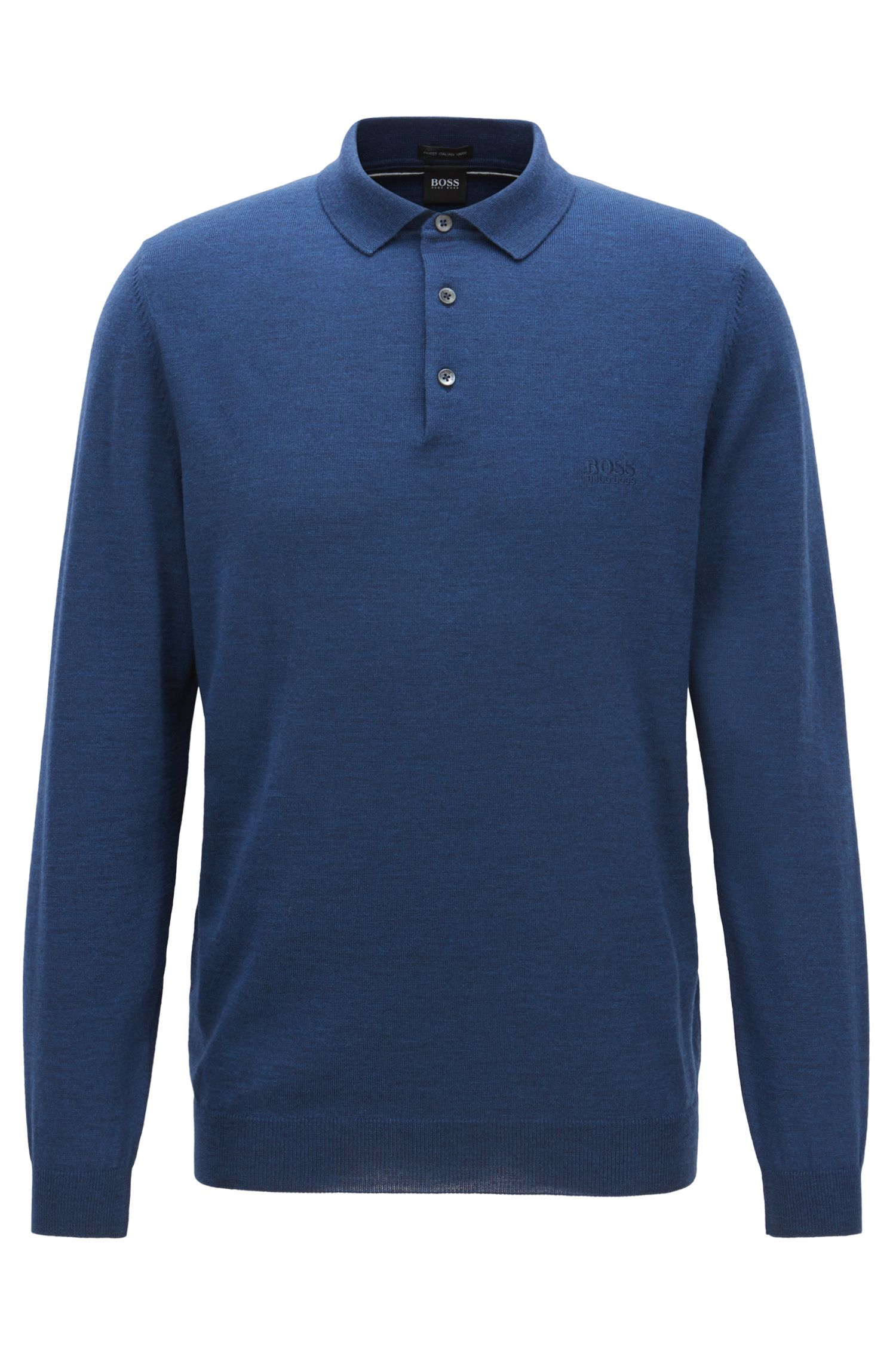 Long-sleeved sweater in virgin wool with polo collar, Blue