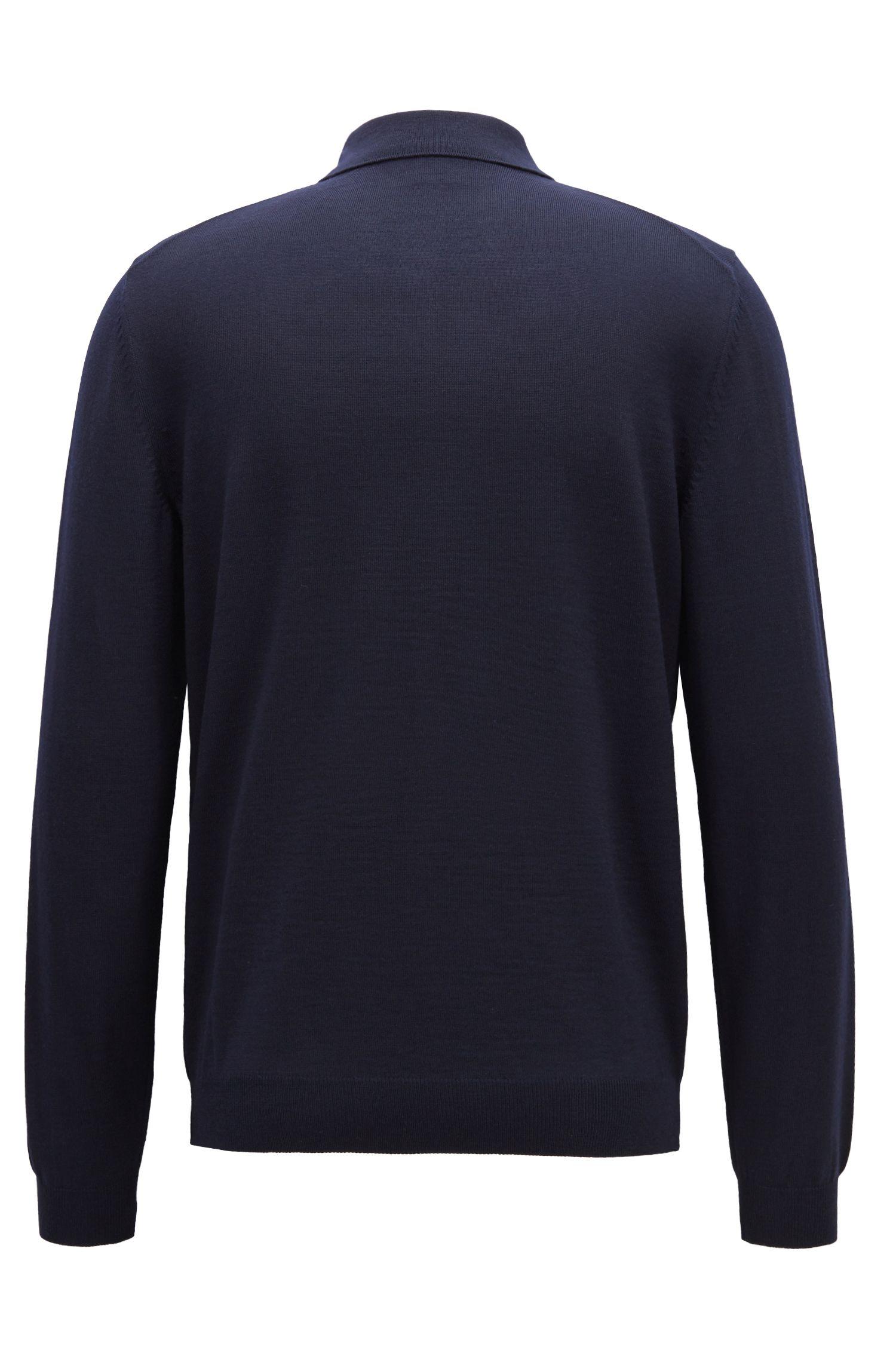 Pullover aus Schurwolle mit Polokragen, Dunkelblau