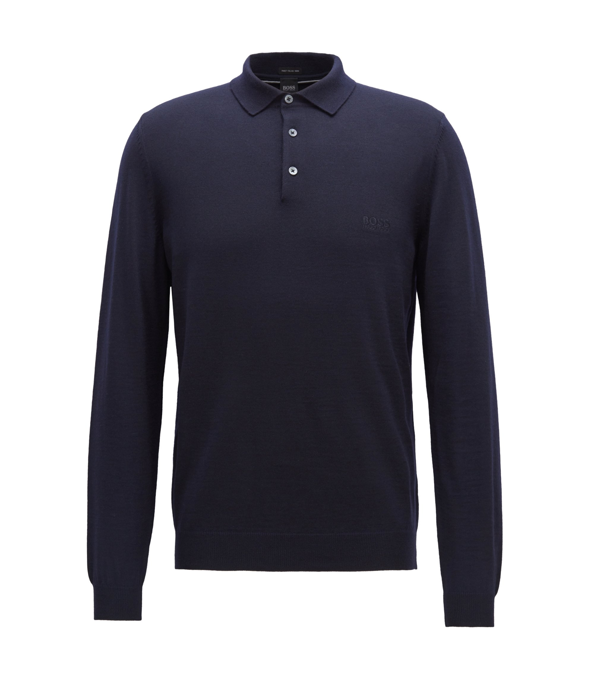 Long-sleeved sweater in virgin wool with polo collar, Dark Blue