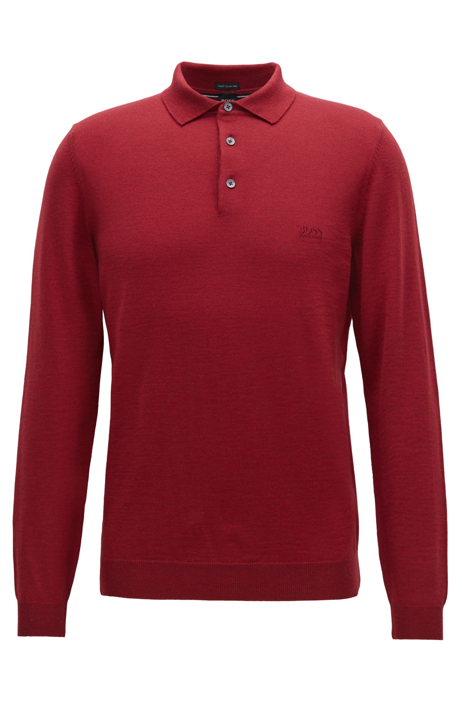 Long-sleeved sweater in virgin wool with polo collar, Dark Red