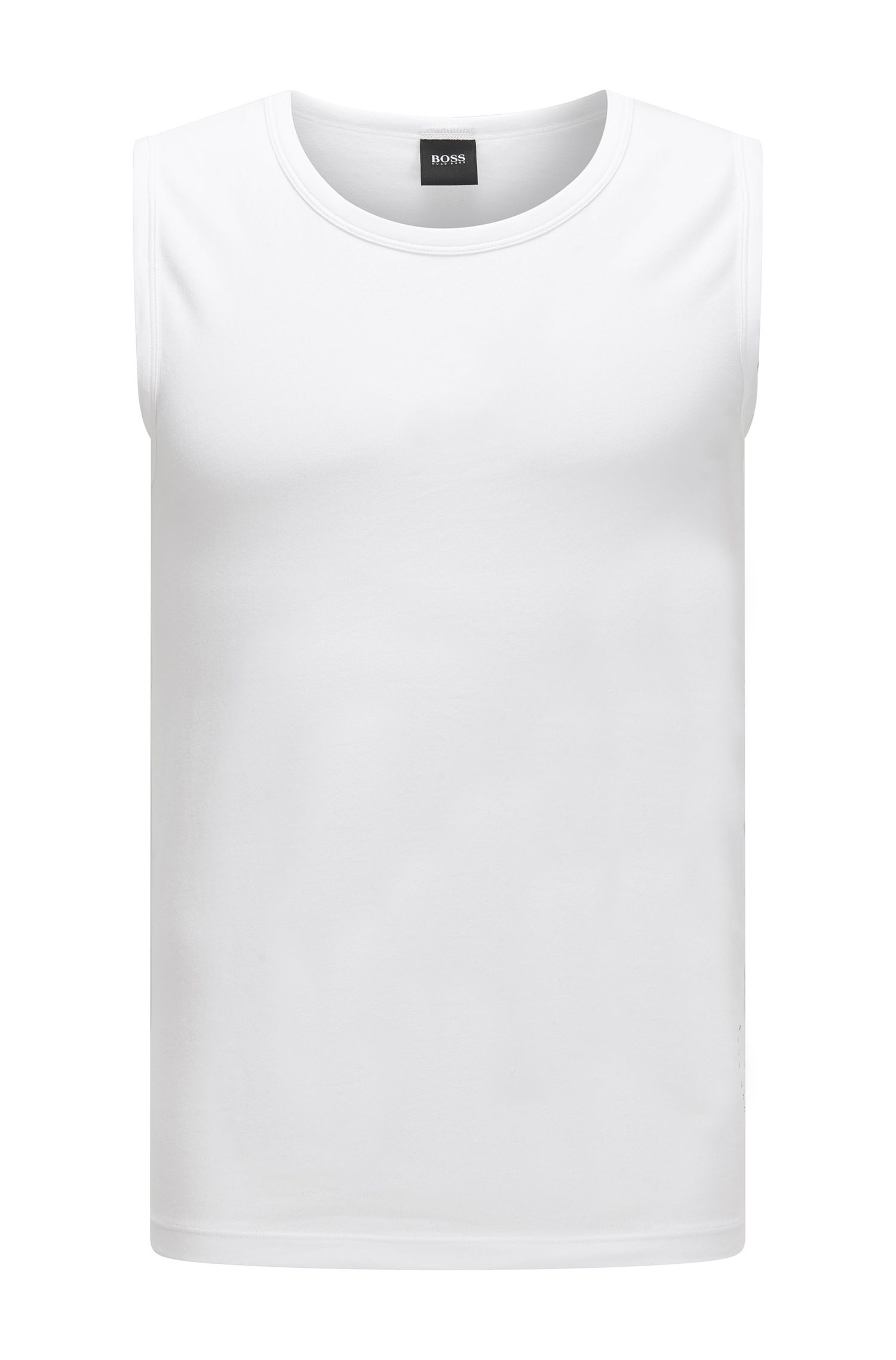 Slim-fit sleeveless undershirt in stretch cotton, White