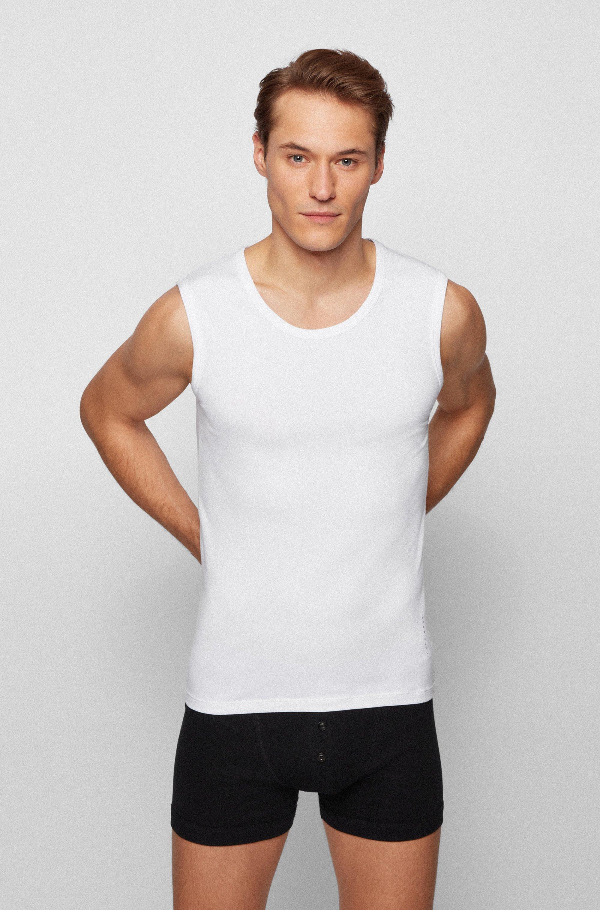 Underwear vest in stretch cotton with heat-sealed logo