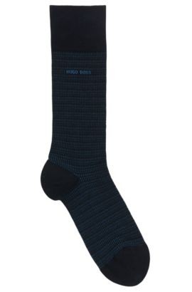 Chaussettes à micro-motif en coton stretch mélangé, Bleu foncé