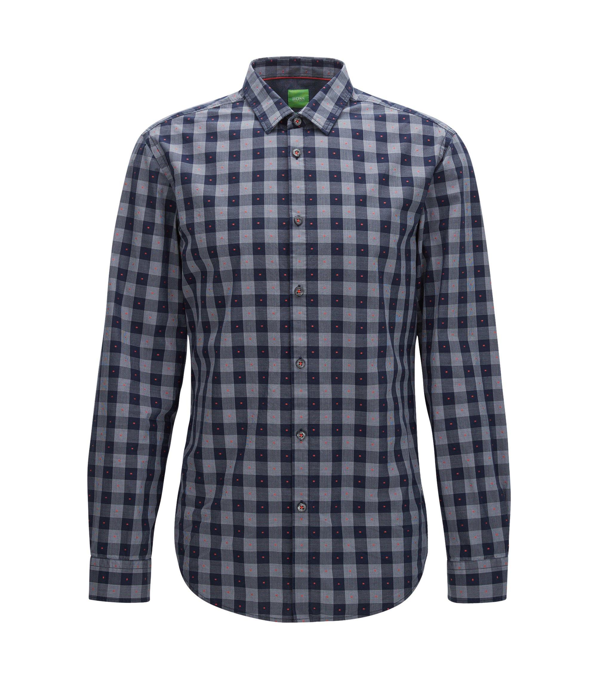 Slim-fit shirt in fil-coupé cotton, Patterned