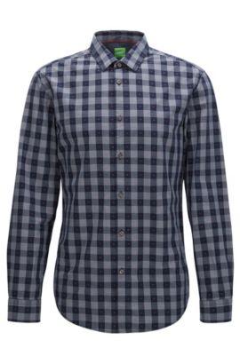Slim-Fit Hemd aus Baumwolle mit Fil-Coupé-Struktur, Gemustert
