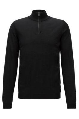 Slim-fit zip-neck sweater in merino wool, Black