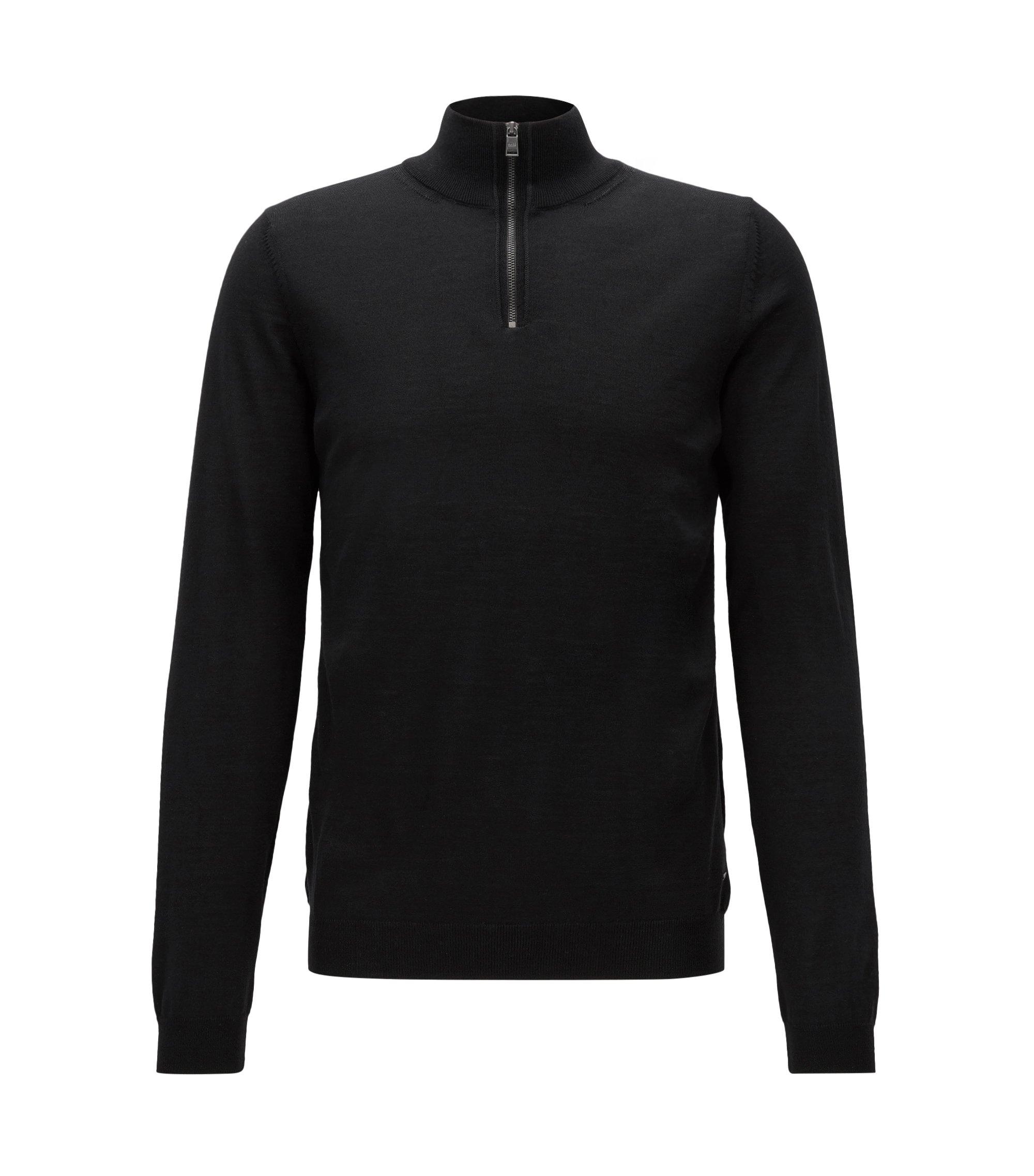 Slim-fit trui van merinowol met ritskraag, Zwart