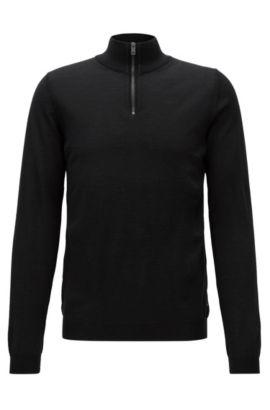 Slim-Fit Pullover aus extrafeiner Merinowolle mit Reißverschluss, Schwarz