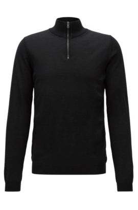 Slim-fit zip-neck sweater in merino wool, Zwart