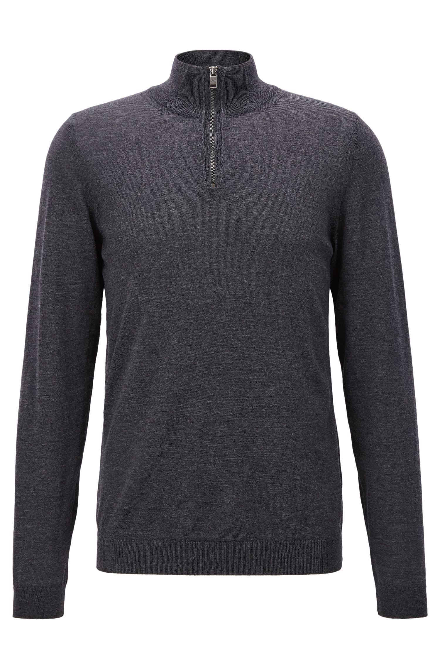 Slim-Fit Pullover aus extrafeiner Merinowolle mit Reißverschluss