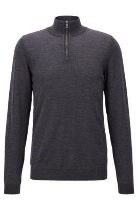 Maglione slim fit con colletto con zip in lana merino, Grigio scuro