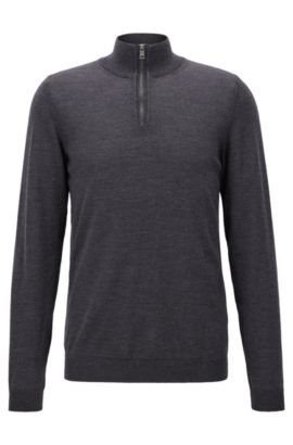 Slim-fit zip-neck sweater in merino wool, Donkergrijs
