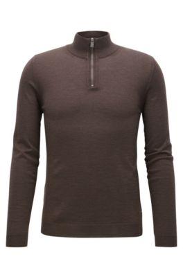 Maglione slim fit con colletto con zip in lana merino, Marrone scuro