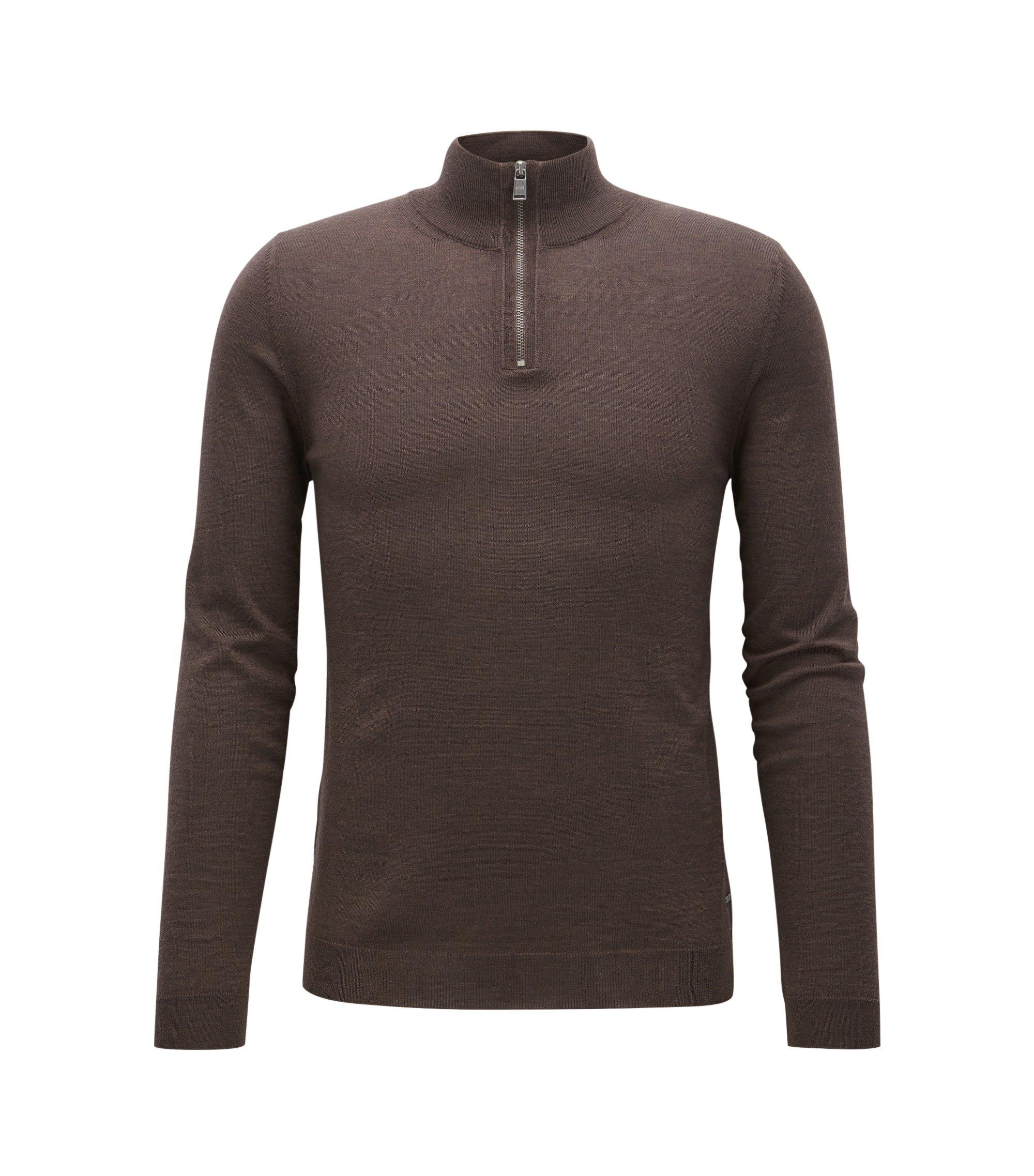 Jersey slim fit con cremallera en el cuello en lana de merino, Marrón oscuro