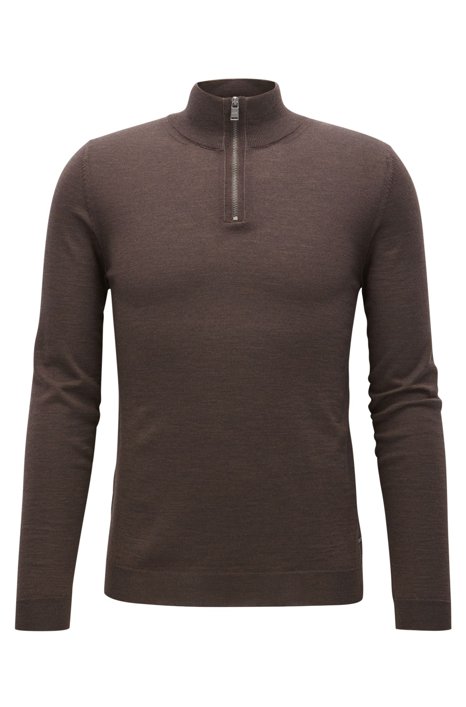 Slim-fit zip-neck sweater in merino wool