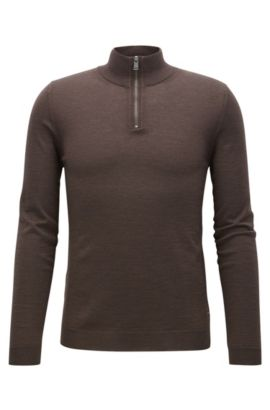 Slim-fit zip-neck sweater in merino wool, Dark Brown