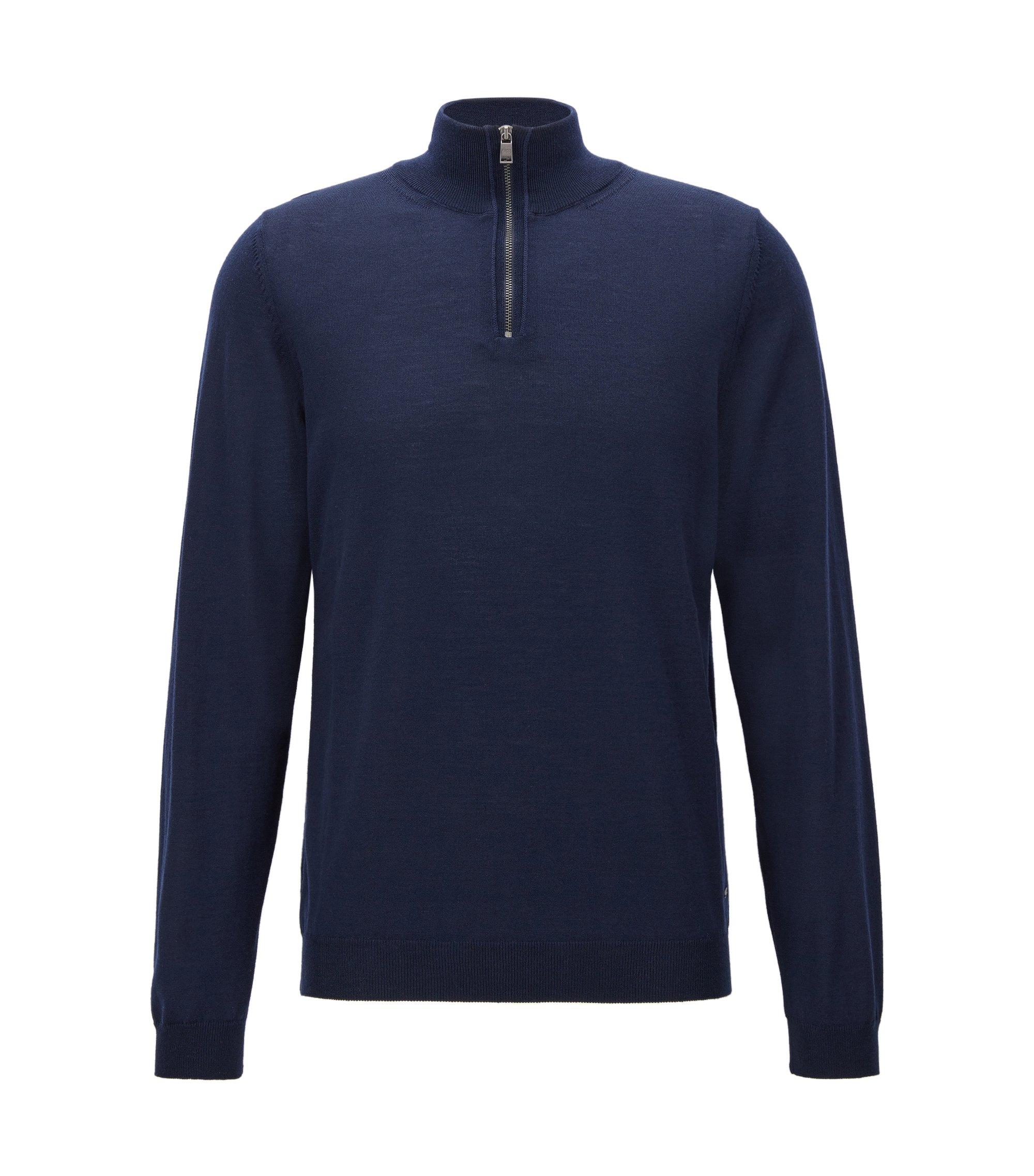 Maglione slim fit con colletto con zip in lana merino, Blu scuro