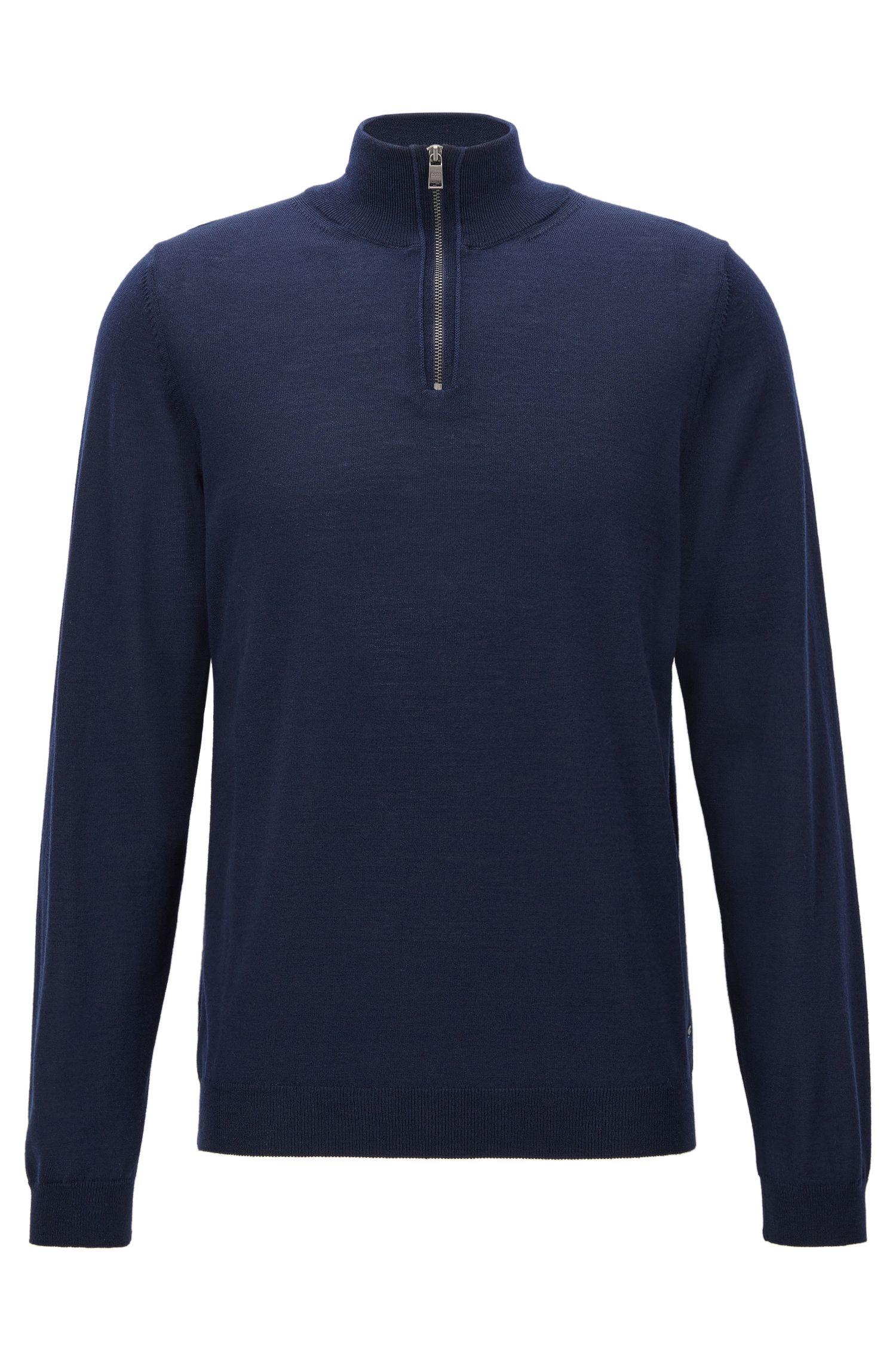 Jersey slim fit con cremallera en el cuello en lana de merino